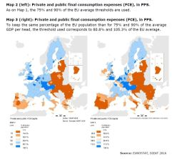 Map 2 (left): Private and public final consumption expenses (FCE), in PPS. Map 3 (right): Private and public final consumption expenses (FCE), in PPS.