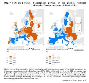 MAPS 4 AND 5 Geographical pattern of the physical wellness dimension (male expectancy of life at birth)