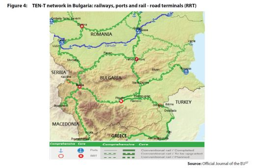 Figure 4: TEN-T network in Bulgaria: railways, ports and rail - road terminals (RRT)