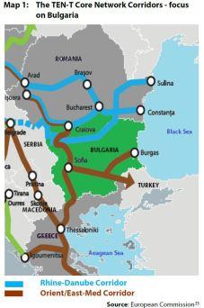 Map 1: The TEN-T Core Network Corridors - focus on Bulgaria