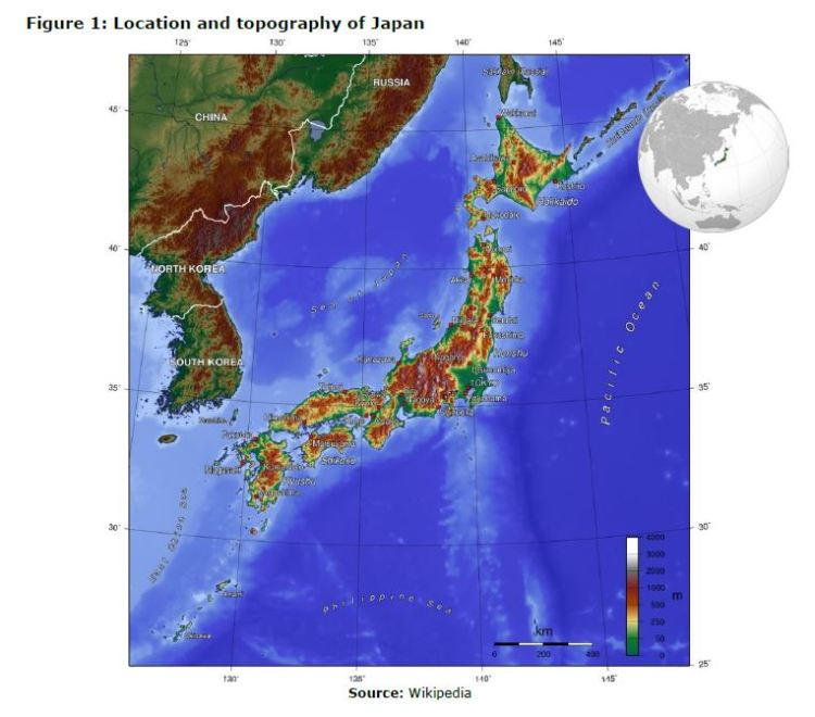 Figure 1: Location and topography of Japan