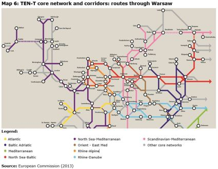 Map 6: TEN-T core network and corridors: routes through Warsaw
