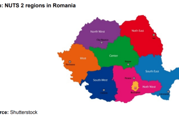 Map: NUTS 2 regions in Romania
