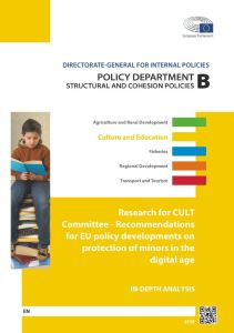 Recommendations for EU policy developments on the protection of minors in the digital age