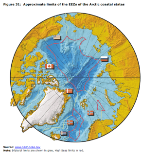 Figure 31 Approximate limits of the EEZs of the Arctic coastal states