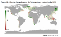 Figure 41 Climate change impacts (in % ) on primary production by 2050