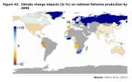 Figure 42 Climate change impacts (in %) on national fisheries production by 2050