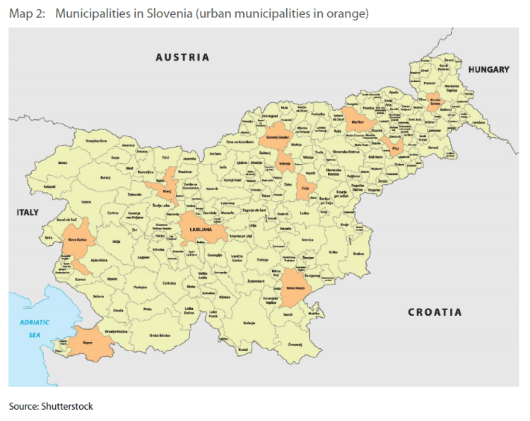 Map 2: Municipalities in Slovenia (urban municipalities in orange)