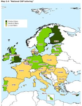 """Map 2.4: """"National CAP tailoring"""""""