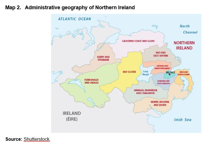 Map 2. Administrative geography of Northern Ireland