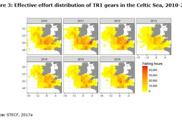 Figure 3: Effective effort distribution of TR1 gears in the Celtic Sea, 2010-2016