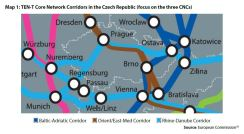 Map 1: TEN-T Core Network Corridors in the Czech Republic (focus on the three CNCs)