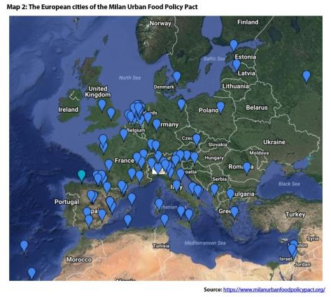Map 2: The European cities of the Milan Urban Food Policy Pact