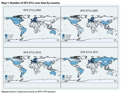Map 1: Number of SPS STCs over time by country