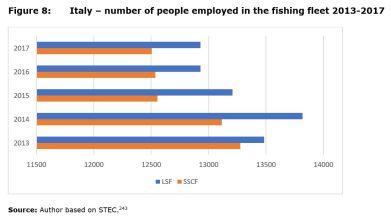 Figure 8: Italy – number of people employed in the fishing fleet 2013-2017