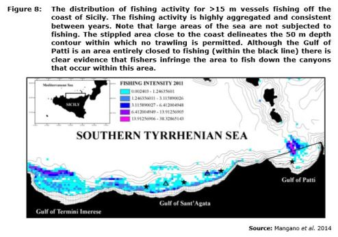 Figure 8: The distribution of fishing activity for >15 m vessels fishing off the coast of Sicily. The fishing activity is highly aggregated and consistent between years. Note that large areas of the sea are not subjected to fishing. The stippled area close to the coast delineates the 50 m depth contour within which no trawling is permitted. Although the Gulf of Patti is an area entirely closed to fishing (within the black line) there is clear evidence that fishers infringe the area to fish down the canyons that occur within this area.