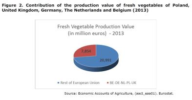 Figure 2: Contribution of the production value of Fresh Vegetables of Netherlands, Poland, United Kingdom, Germany, and Belgium. Year 2013.