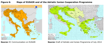 Figure 6: Maps of EUSAIR and of the Adriatic Ionian Cooperation Programme