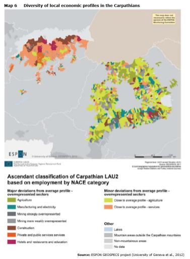 Map 6 Diversity of local economic profiles in the Carpathians