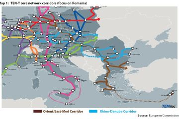 Map 1: TEN-T core network corridors (focus on Romania)