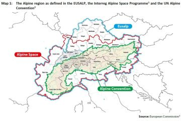 Map 1: The Alpine region as defined in the EUSALP, the Interreg Alpine Space Programme1 and the UN Alpine Convention2