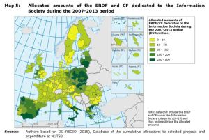 Map 5: Allocated amounts of the ERDF and CF dedicated to the Information Society in consolidated areas of intervention during the 2007-2013 period.