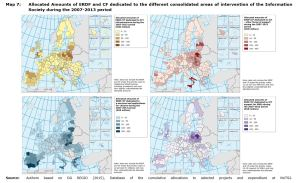 Map 7: Allocated amounts of ERDF and CF dedicated to the different consolidated areas of intervention during the 2007-2013 period.