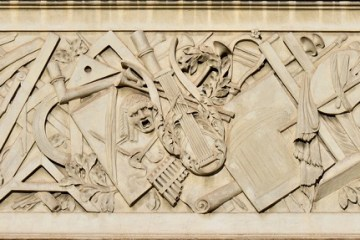 Marble relief of the Liberal Arts on the People's Place in Rome redesigned by Giuseppe Valadier (1762-1839)