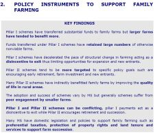 Key Findings - Policy instruments to support family farming