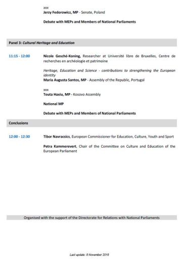 Interparliamentary Committee Meeting: European Cultural Heritage - day 2