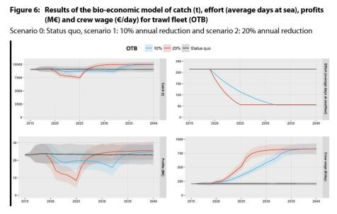 Results of the bio-economic model of catch (t), effort (average days at sea), profits (M€) and crew wage (€/day) for trawl fleet (OTB)