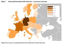 Map 2: Intermodal terminals with rail access – occurrence in Europe