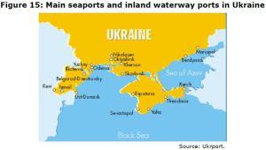 Figure 15: Main seaports and inland waterway ports in Ukraine Source: Ukrport.