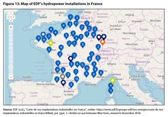 Figure 13: Map of EDF's hydropower installations in France