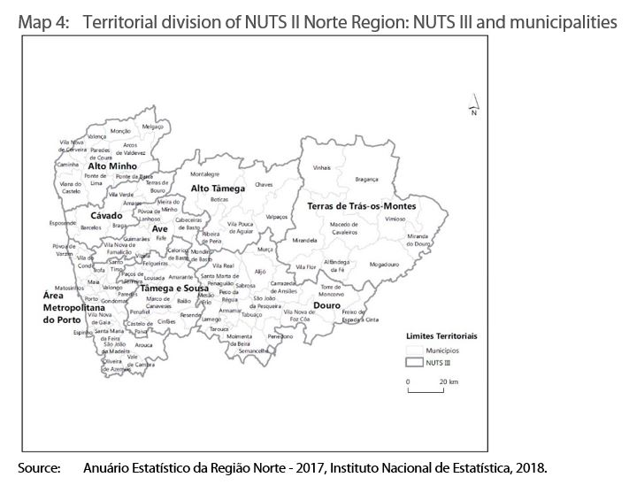 Map 4: Territorial division of NUTS II Norte Region: NUTS III and municipalities
