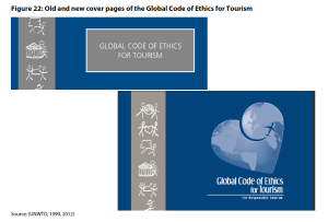 Figure 22: Old and new cover pages of the Global Code of Ethics for Tourism