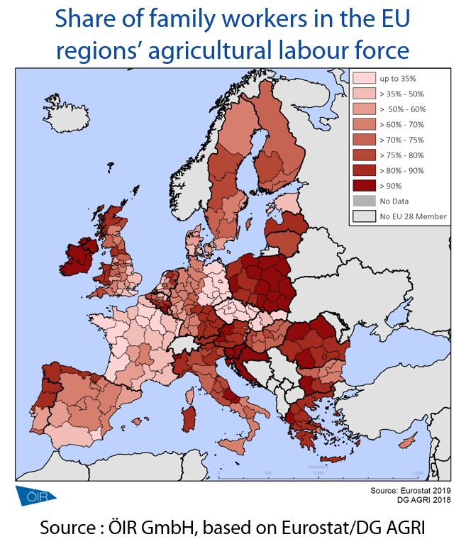 Share of family workers in the EU regions' agricultural labour force