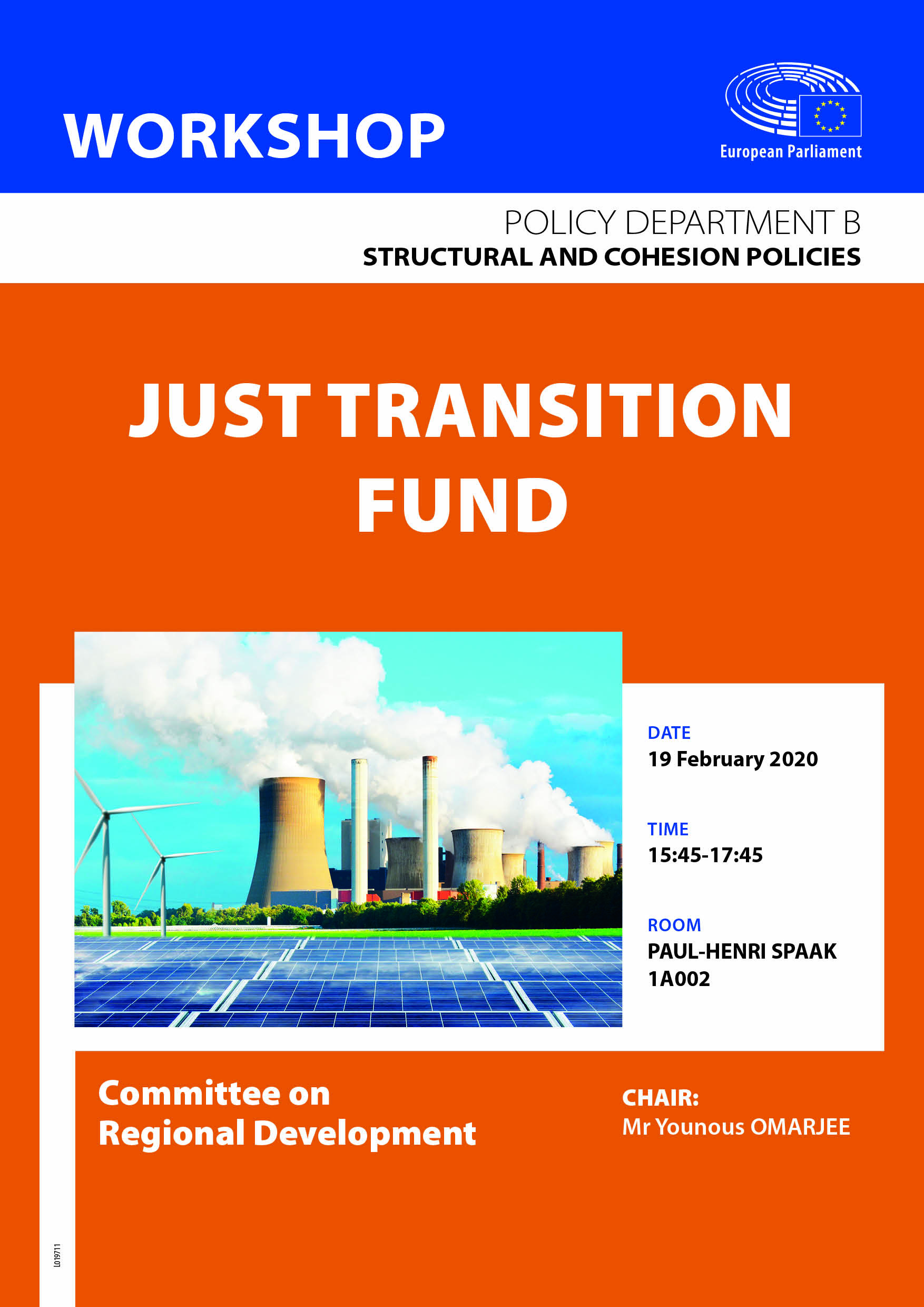 Poster for the REGI Workshop Assessment of the Just Transition Fund proposal
