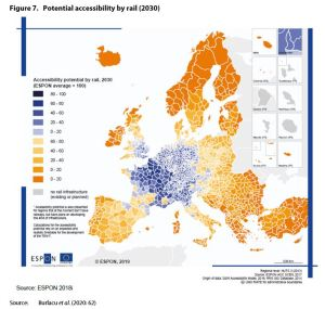 Figure 7. Potential accessibility by rail (2030)