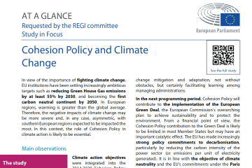 At a glance: Cohesion Policy and Climate Change