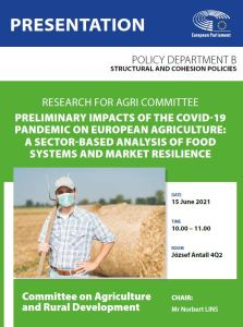 Poster: Preliminary impacts of the COVID-19 pandemic on European agriculture: a sector-based analysis of food systems and market resilience