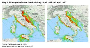 Map 6: Fishing vessel route density in Italy, April 2019 and April 2020