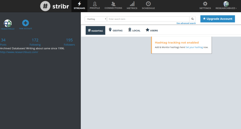 Stribr's dashboard for hashtag tracking.