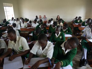 The team at the back of the class in Uganda. Photo Dr Ross White