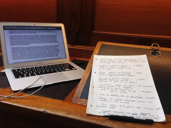 Taking notes in the State Library of Victoria
