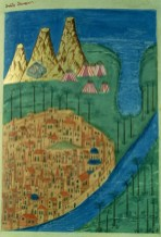 Mt. Sinai Peninsula. Illumination from a late medieval Georgian manuscript (Tbilisi, Georgian Academy of Sciences, Psalter H-182, f. 227) The Monastery of St. Catherine is shown in the upper left, at the foot of Mt. Sinai (Jebel Musa). Brightly colored Bedouin tents sit between the mountains and the Gulf of Suez. The city of Cairo, on the bank of the river Nile, is seen in the foreground.