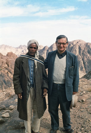 Kurt Weitzmann with the Bedouin Musa (late 1950s) The photograph was taken during one of the first Princeton-Michigan expeditions to Mt. Sinai. It should be noted that the name Musa means Moses in Arabic, an association charged with special meaning on Mt. Sinai.