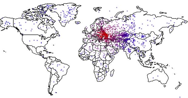 Où est l'Ukraine ? Les points rouges correspondent aux réponses les plus proches, les bleus : les plus éloignées. Crédits : Survey Sampling International; / Thomas Zeitzoff/The Monkey Cage