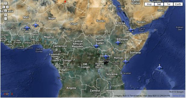 africom map of drones1 Burkina Faso: Le Coup d'état préventif d'Obama contre Blaise Compaoré