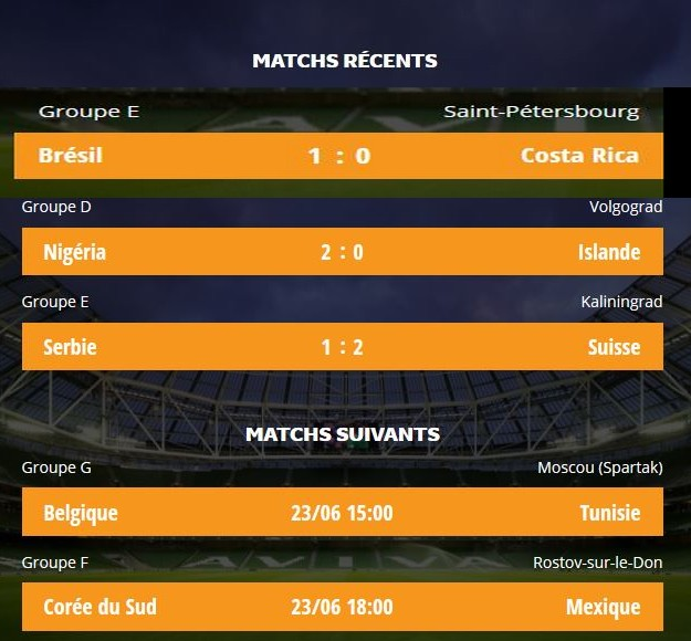 résultats matchs 9-3 20180617